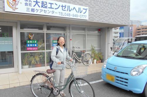 ご利用者宅への訪問は自転車が中心です